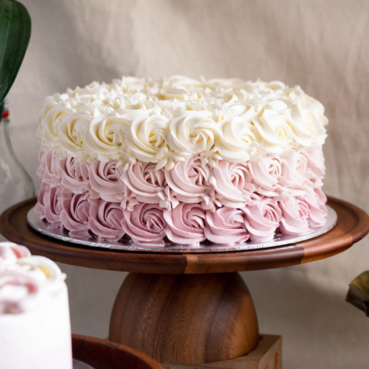 Pastel Ombré Rose Vanilla Cake